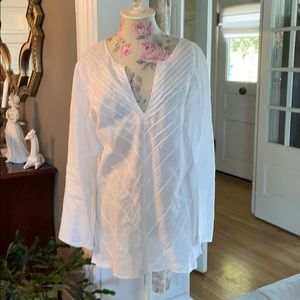 Chico's white linen pullover long sleeve top